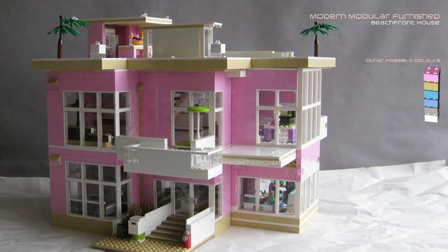 Lego cuusoo lego friends modern modular furnished beach for Modernes lego haus