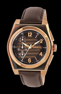 Brown leather strap, rose gold case. By Breil.
