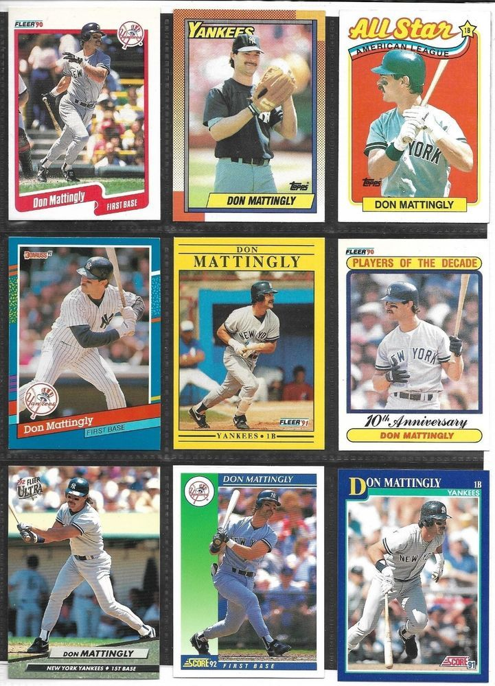 Don Mattingly Baseball Card Lot Of 9 Different Cards 1990 1992 New