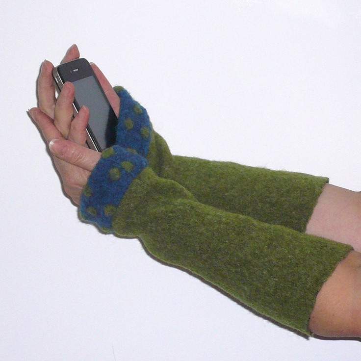 Blue olive green wrist warmers with polka dots, soft warm felted wool mixture. $29.00, via Etsy.