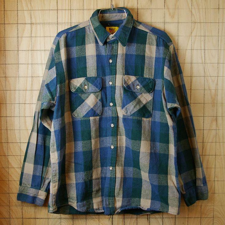 【Workn'Sport】USA(アメリカ)製古着グリーン(緑)×ベージュ×ブルー(青)ブロックチェックシャツ sy-l-198 サイズL相当