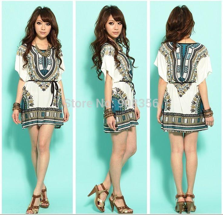 2014 nieuwe mode zomerjurk vrouwen casual kleding dames zijde batwing mouw tunieken folk print strand jurken in  van  op Aliexpress.com
