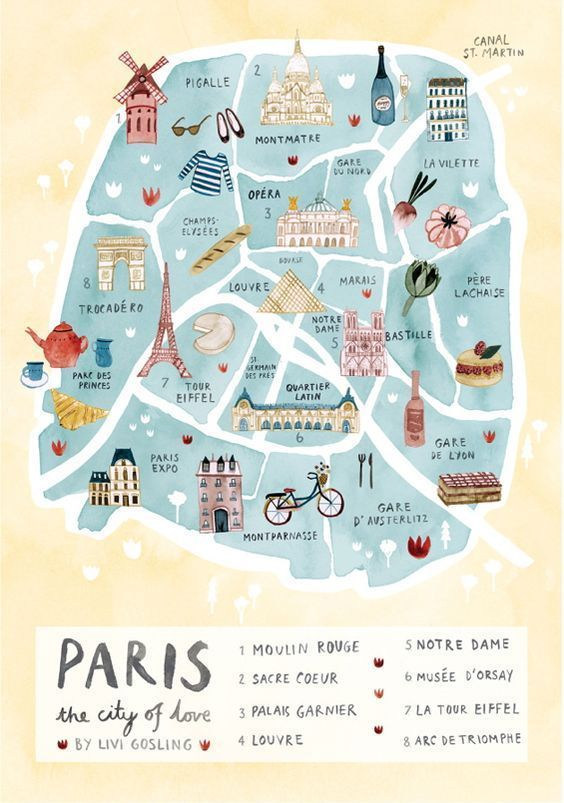 Beautiful Paris Illustration by Livi Gosling | paris, france, etsy, art, artwork, gorgeous, watercolor, map, city of love, sacre coeur, moulin rouge, palais garnier, louvre, notre dame, musee d'orsay, la tour eiffel, eiffel tower, arc de triomphe, affiliate link