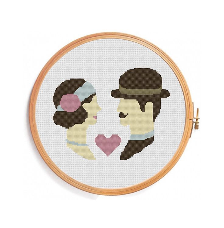 Retro wedding cross stitch - vintage color - paris style - pastel colors - brown pink - lovers - Instant download pattern - hat ribbon by PatternsCrossStitch on Etsy https://www.etsy.com/listing/179960308/retro-wedding-cross-stitch-vintage-color