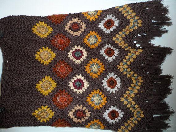 Crochet 1960-s hippie style bohemian granny square by krittenart