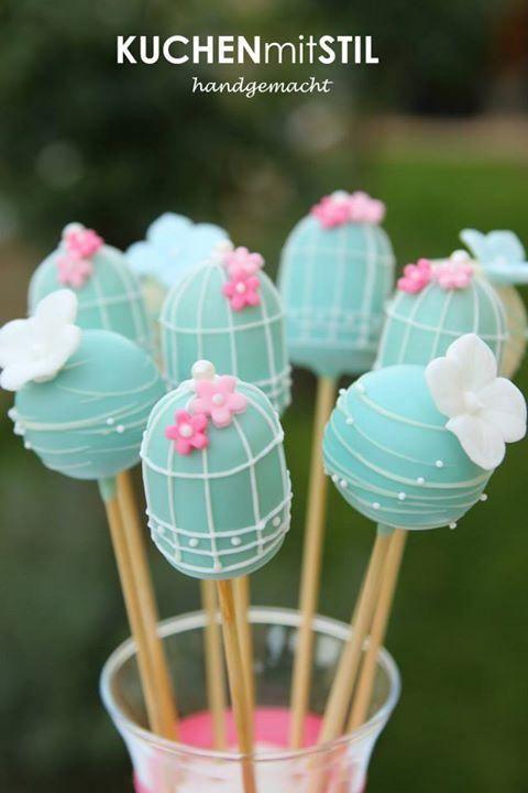 Blue Bird Cage Cake Pops