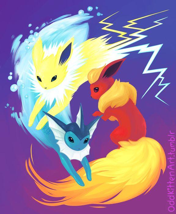 Elemental Trio Flareon Jolteon Vaporeon By Oddkittenart On Pokemon Pinterest