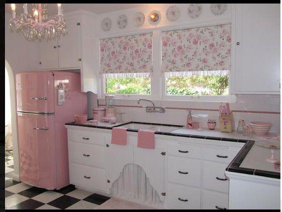 shabby chic kitchen pink white black