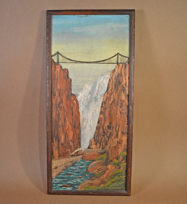 Wonderful Vintage Painting on Board of Royal Gorge Colorado with RR Train. $145.00, via Etsy.