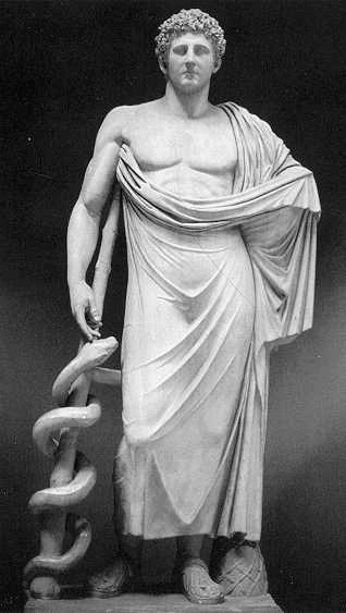 En la mitología griega Asclepio o Asclepios (en griego Ἀσκληπιός), Esculapio para los romanos, fue el dios de la Medicina y la curación, venerado en Grecia en varios santuarios.