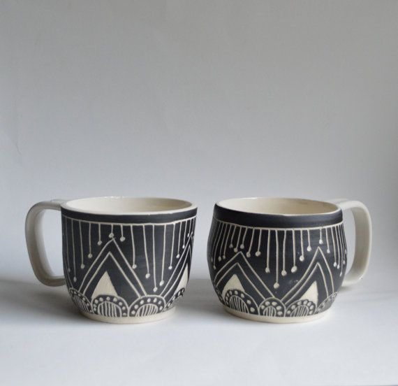 T R I B A L  wheel thrown stoneware mug set by mbundy on Etsy