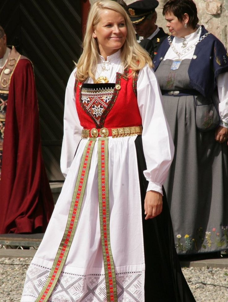 The Crown Princess of Norway in her Hardanger Bunad. All can wear this one, it is the official national bunad of Norway.