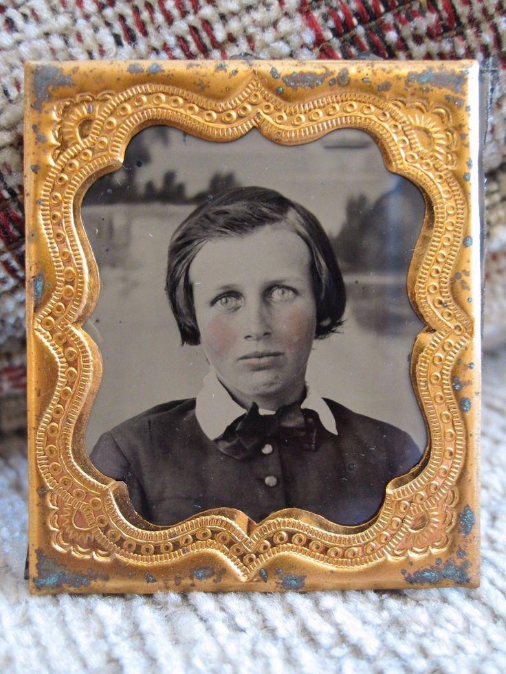 Antique American Blue Eyes Boy Schooner Folk Art Red Cheeks Fine Ambrotype Photo…