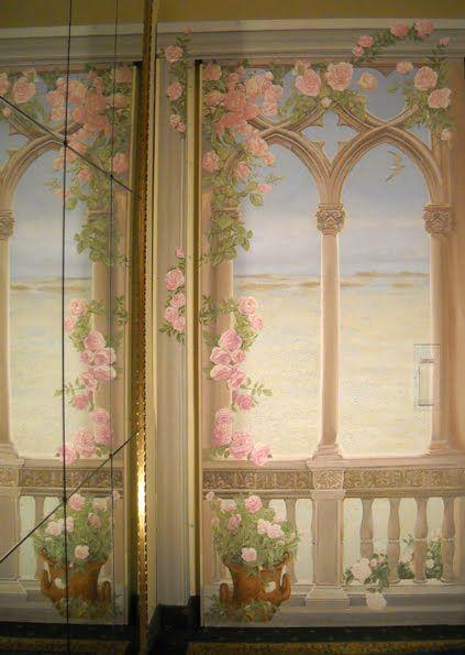 Trompe l'oeil - Rosso Sinopia  dipinto con silicati su porta tagliafuoco
