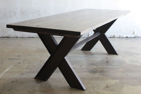 Steel Welded X Base Dining Table Base Or Desk With Solid
