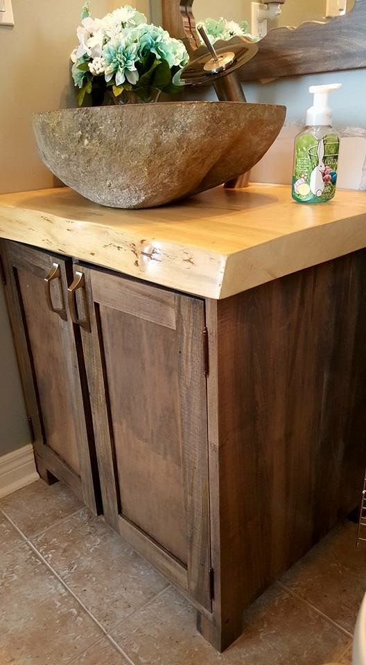 Updated vanity with Maple Live Edge Slab and Riverstone sink