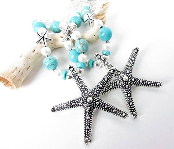 These starfish curtain tiebacks have a large center focal starfish and gorgeous turquoise colored beads beads with white pearls added for a beautiful coastal decor touch.  A pair of starfish tiebacks which will add beauty to your shabby chic decor.  These add a beautiful shabby chic