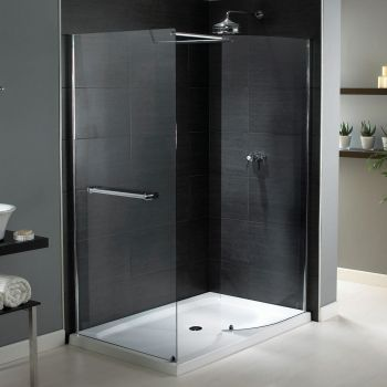 Aqualux Shine Walk-In Shower Enclosure, 1400mm x 800mm, Silver Frame With Slimline Tray, Clear Glass