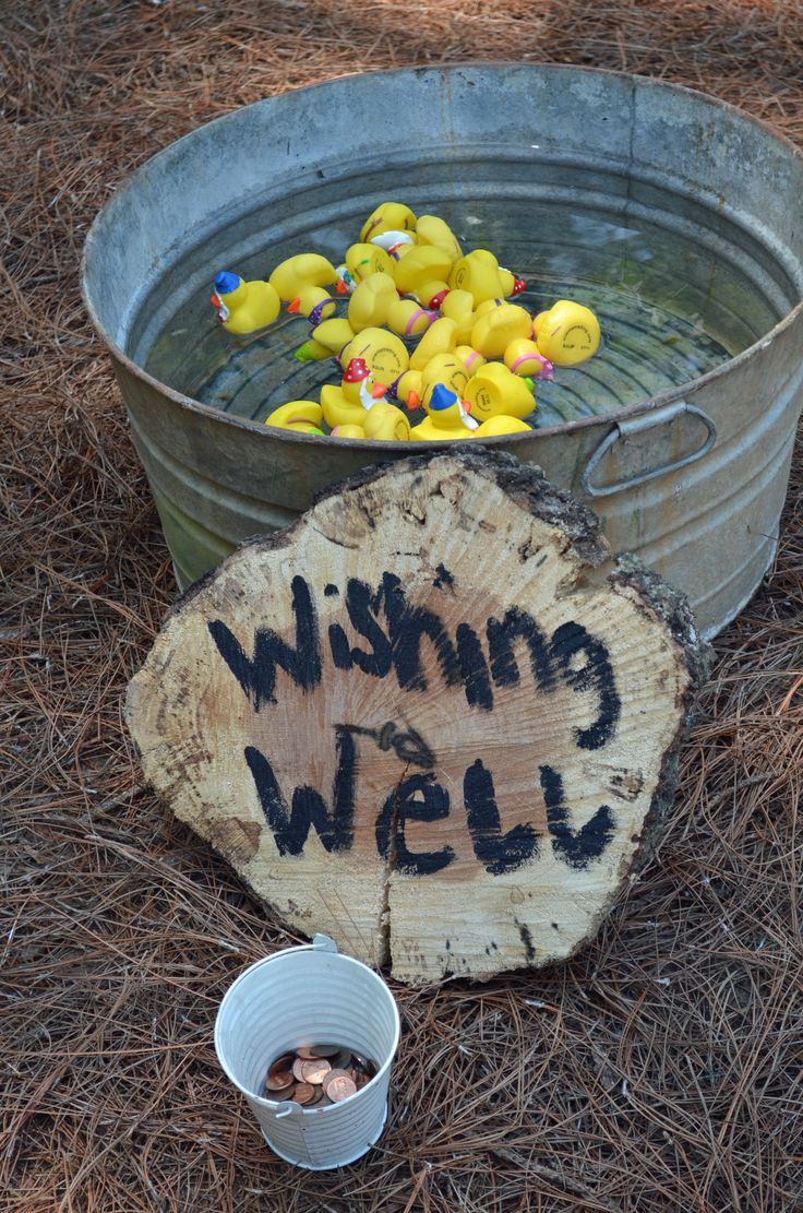 Wishing Well! Throw pennies in the well and pick out a rubber duckie!! Snow White Party
