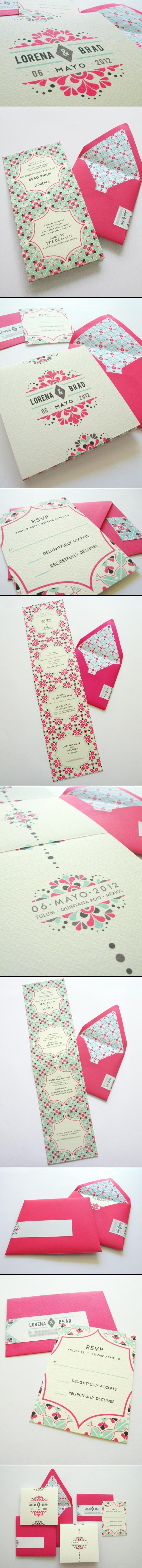 Mexican tile motifs adorn this variation of the Mexican tile-inspired Invitation, now with bright pops of fuchsia and turquoise to compliment the Riviera Maya beach venue.