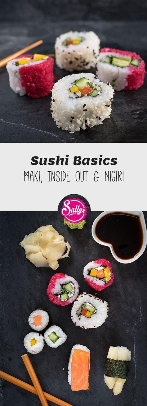 Sushi von A-Z. Lerne wie man Sushi Ingwer einlegt, Sushi Reis mithilfe von Sushi Zu zubereitet und die Maki, Inside out und Nigiri zubereitet. #sushi