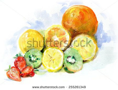Water color still life painting of fruits and berries : orange, lemon, strawberry and kiwi