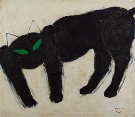 black cat with green eyes | oil painting, 1993 | Popo Iskandar
