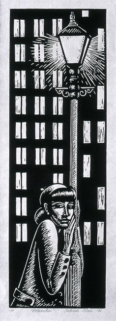 """Reclamation"", 1996, linocut by Deborah Klein. http://www.deborahklein.net/ Tags: Linocut, Cut, Print, Linoleum, Lino, Carving, Block, Woodcut, Helen Elstone, Australian, Female, Woman, Face. Tower Block, Lamp Post, Night, Film Noir."