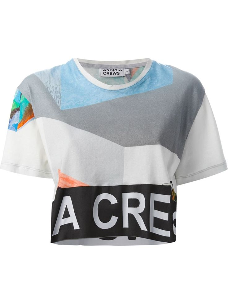 Women - Andrea Crews Cropped Collage Print T-Shirt - WOK STORE