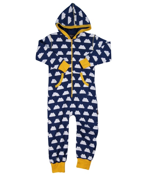 Maxomorra Jumpsuit met capuchon Clouds Blue
