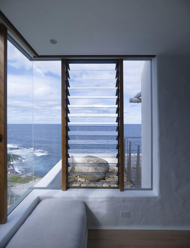 Timber frame window overlooking coogee beach