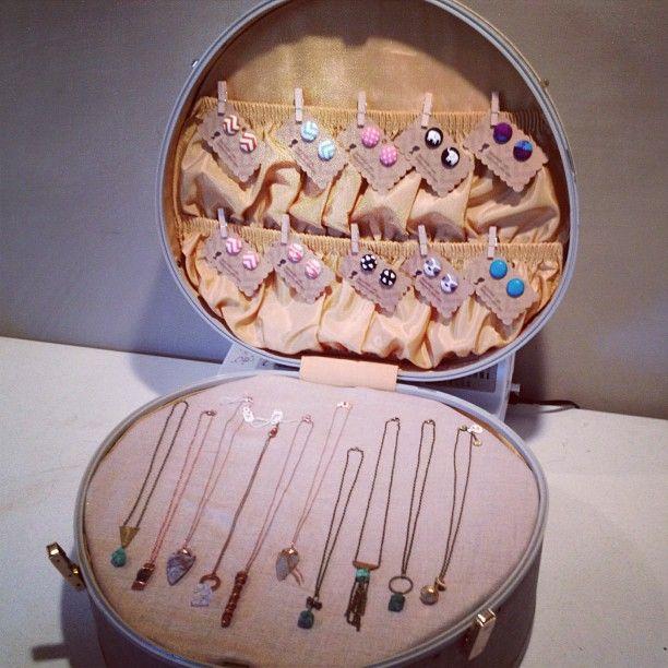 vintage suitcase jewelry display