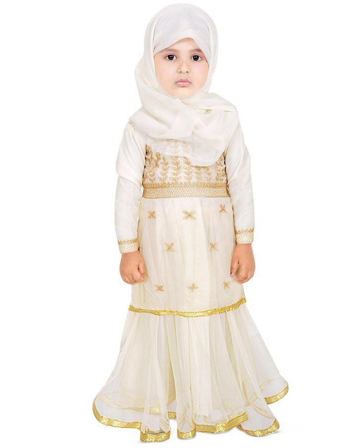 Your Little Angel Will Become The Princess Of All Eyes By Wearing This Ivory Colored Party Wear Abaya. Made From Poly Crepe & Net, This Dress Has A Round Neck With Beautiful Gold Embroidery And Full Sleeves. You Can Team This Dress With Cute Shoes Or Sandals To Complete Your Girl Party Wear Look.