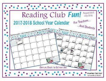 FREE - 2017-2018 Mega Bundle SCHOOL YEAR CALENDAR (Back to School) - Enjoy 38 pages of back-to-school goodness! Includes: ? Reading Club Fun Membership      Certificate ? 2017-2018 School Year Calendar - Teacher Edition ? 2017-2018 School Year Calendar - Student Edition (Kids can record number of pages read) ? Learning & Careers (Back to School) Bundle: ?? Two-Page Activity Set ?? Future Jobs Word Search Puzzle ?? A Lifetime of Learning Word Search Puzzle ?? Reading Log and Certificate Set