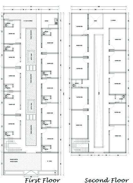 denah rumah kost sederhana 2 lantai