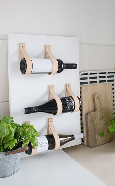 diy leaning wine shelf with leather | home craft