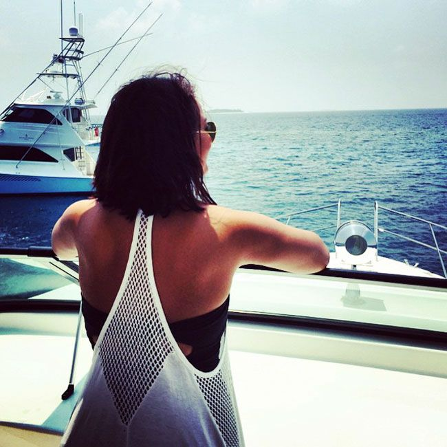 Sonakshi Sinha showing her back while holidaying in the Maldives.