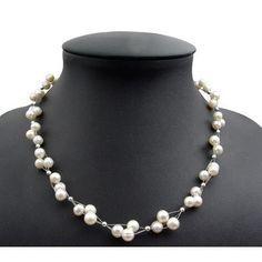 Kette Collier aus echten Perlen, 3-reihig, creme-weiß, Perlenkette Kategorien Halsketten & Colliers Ketten Perlen