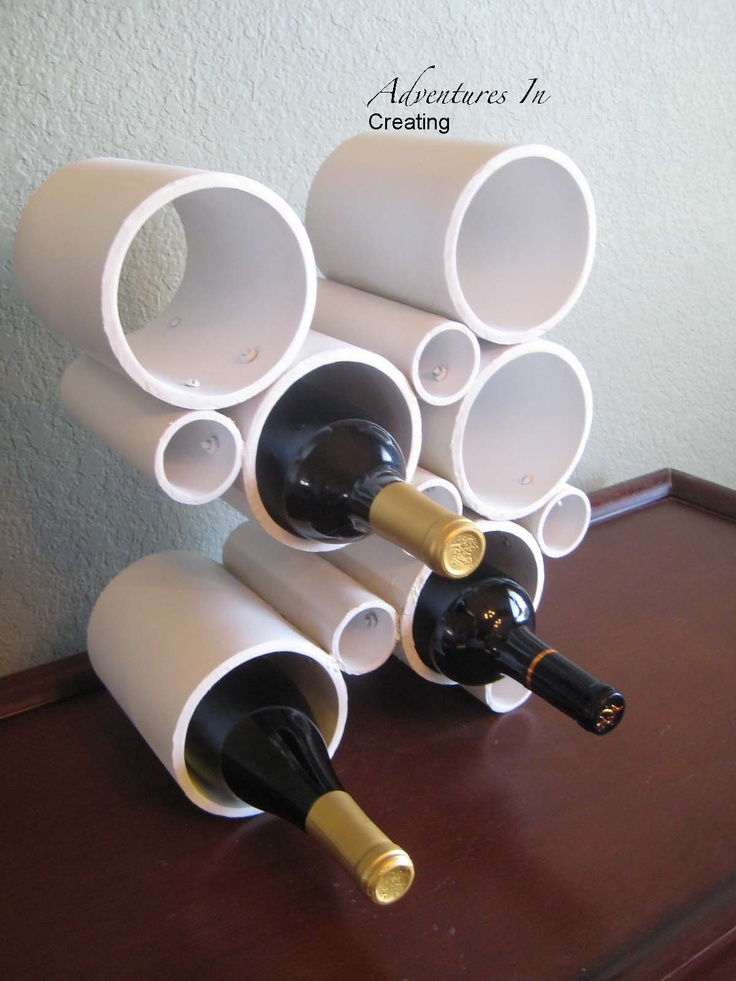 Homemade wine rack from PVC pipe