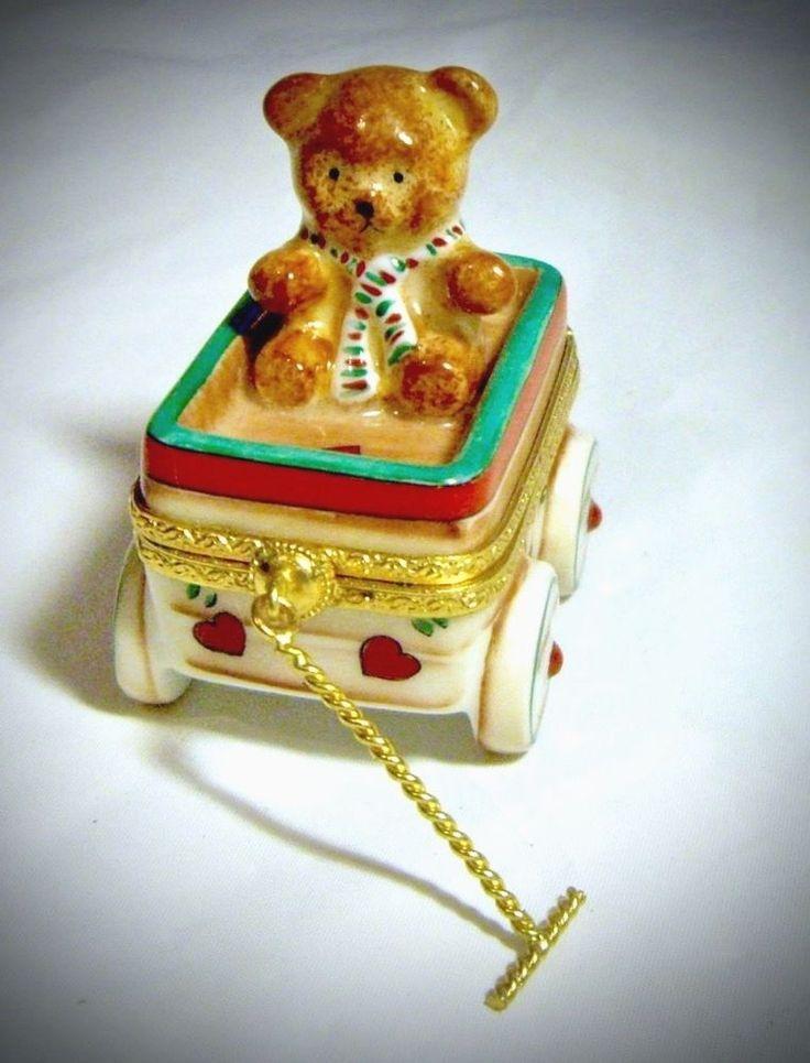 Signed Limoges France French Teddy Bear Toy Wagon Trinket Box Peint Main Limoge