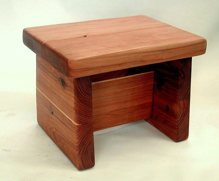 "Small Foot Stool (Options: Mature Redwood, 10"" H, No Engraving, Wax Finish)"