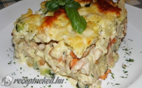 Rakott karalábé csirkehússal, zöldségekkel és kölessel recept fotóval