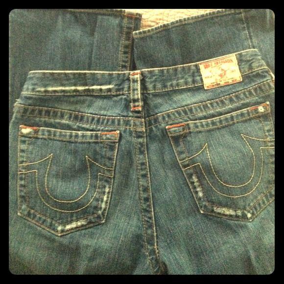 "True Religion ""Bobby"" flare leg jeans sz 31 Authentic 100% cotton factory distressed True Religion Bobby flare leg jeans. EUC, only worn a few times. True Religion Jeans"