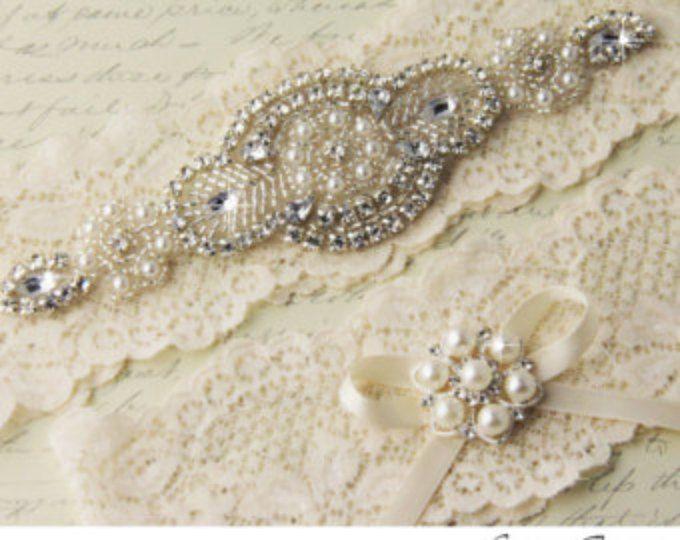 Wedding Garter Set Ivory Lace Bridal Pearl HIGHEST QUALITY Garters On Etsy