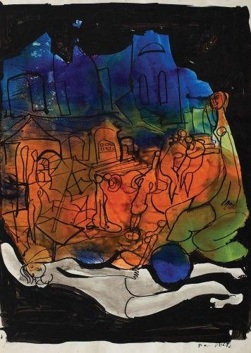 Înserare peste Ierusalim TIA PELTZ 1923, București - 1999, București tuşuri colorate pe hârtie, 29,5 × 21 cm, semnat dreapta jos, cu negru, Tia Peltz Valoare estimativă: € 300 - 450 Prețul de pornire se va situa sub valoarea minimă a evaluării Starea de conservare: pentru informații tehnice, contactați loredana.codau@artmark.ro