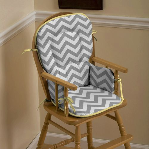 Gray And Yellow Zig Zag High Chair Pad Rocking Chairs