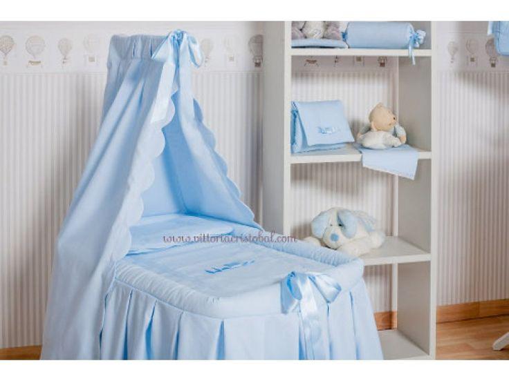 Berceau b b bleu ciel de lit habillage coton noeuds satin s bleus livr tout inclus - Ciel de lit bleu ...