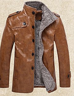 Men's Daily Sports Vintage Spring Fall Jacket,Solid Stand Long Sleeve Regular PU