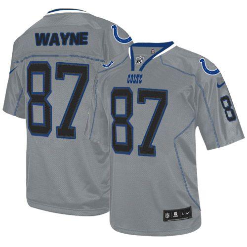 $129.99 Nike Elite Men's Nike Indianapolis Colts #87 Reggie Wayne Elite New Lights Out Grey Jersey