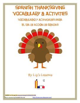 $ Liz's Lessons-Vocabulario y Actividades para el Dia de Accion de Gracias